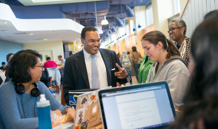 President Hrabowski with students in UMBC Commons, Fall 2015