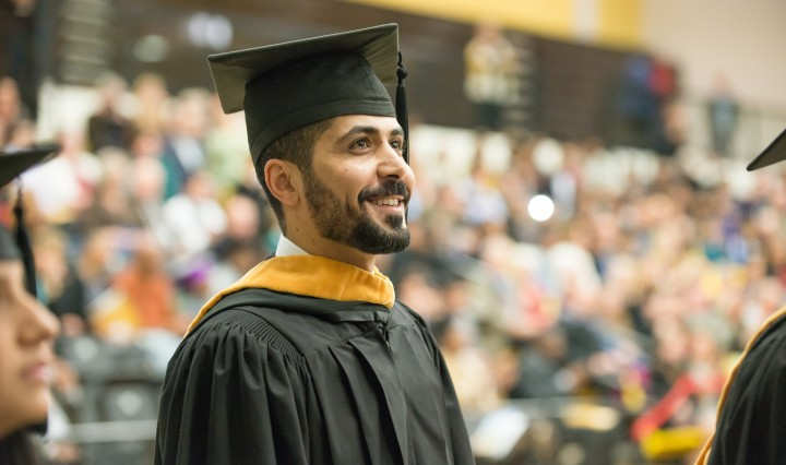 Graduating student at UMBC December 2015 Graduate Commencement Ceremony, 12/16/2015