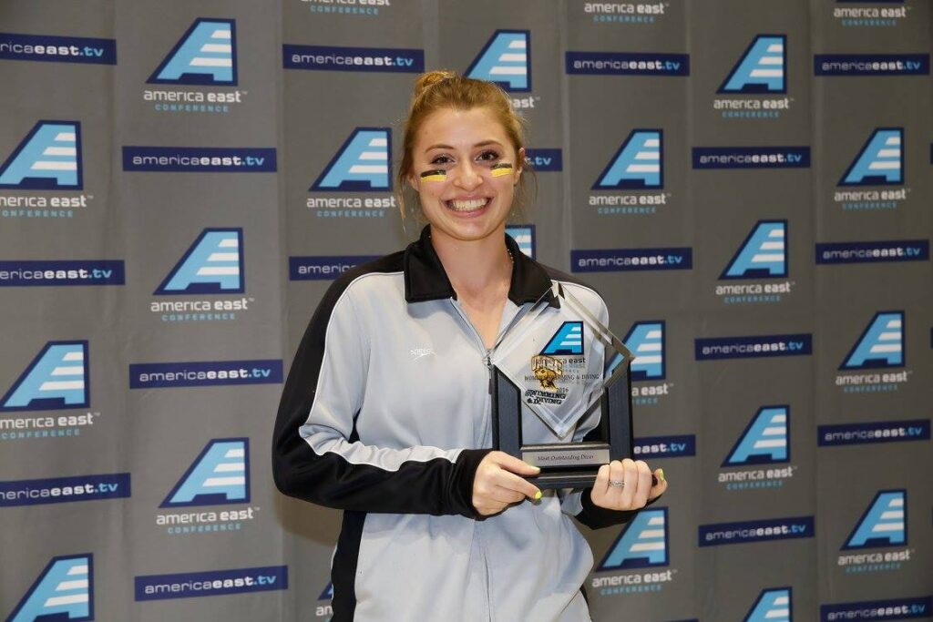 Coco Darelius '16 earned Most Outstanding Diver of America East championship meet 2016.