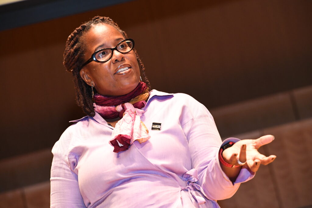 "Karsonya ""Kaye"" Wise Whitehead, Ph.D. '09, LLC, associate professor of history at Loyola University presents at GRIT-X."