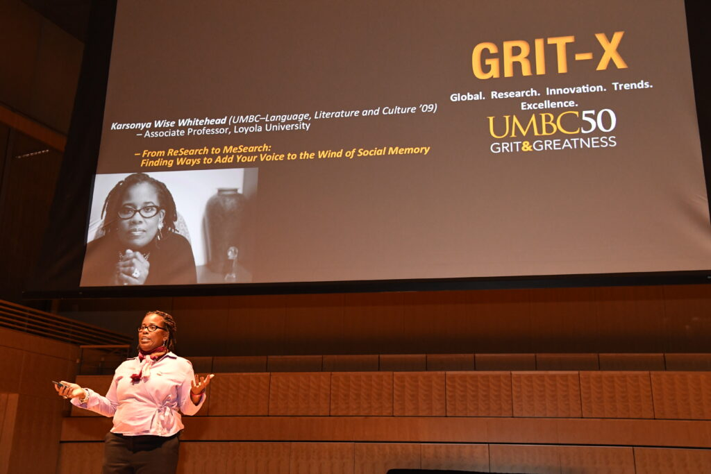 Karsonya Wise Whitehead, Ph.D. '09, language literacy and culture, presents at GRIT-X.
