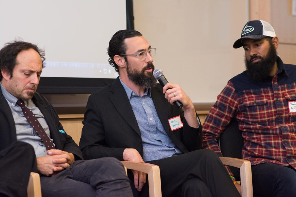 WYPR's Aaron Henkin speaks during Baltimore Stories panel.