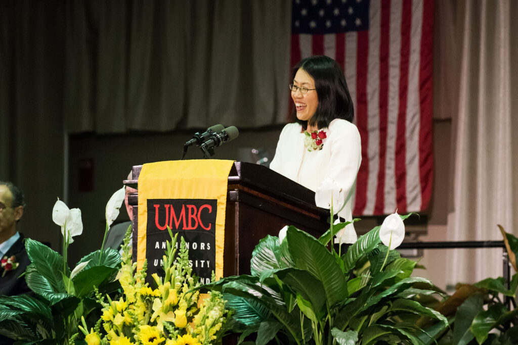 Sarah Shin speaking at 2017 UMBC Presidential Faculty and Staff Awards.