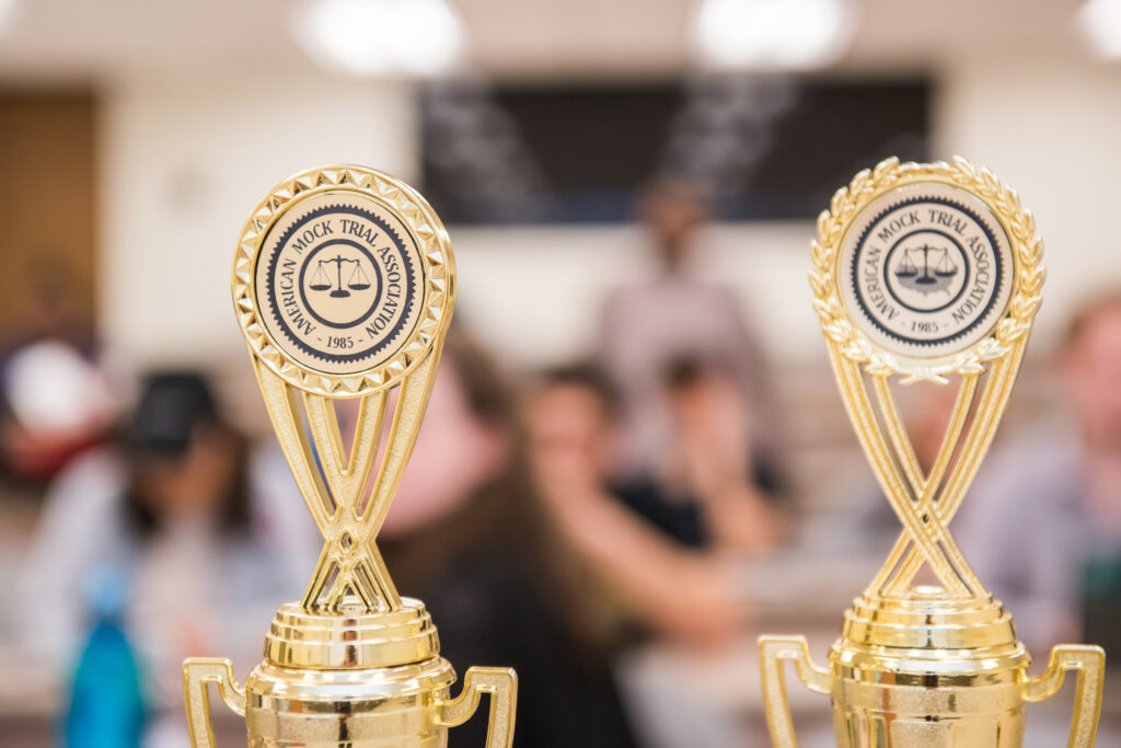 UMBC Mock Trial trophies