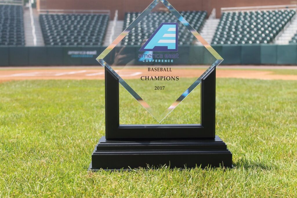 America East baseball championship trophy. Photo courtesy of UMBC Athletics.