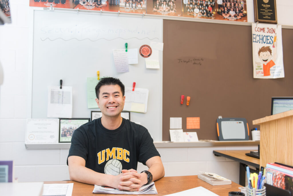 UMBC alumnus Sean Pang named Washington Post Teacher of the Year.