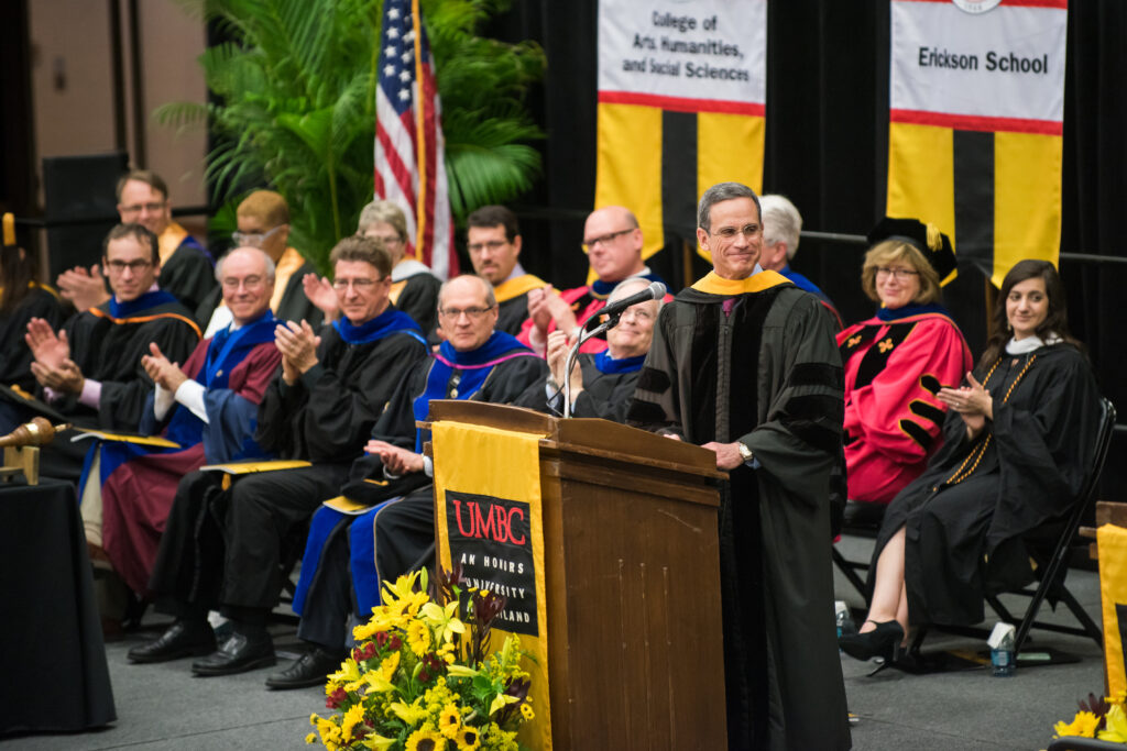 Ralph Semmel speaks during the graduate ceremony.