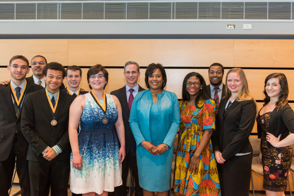 President Hrabowski, valedictorian finalists, Semmel, Hill, and student leaders at a special reception recognizing the honorary degree recipients.