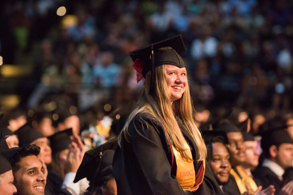 Heather Frank stands during the undergraduate commencement ceremony.