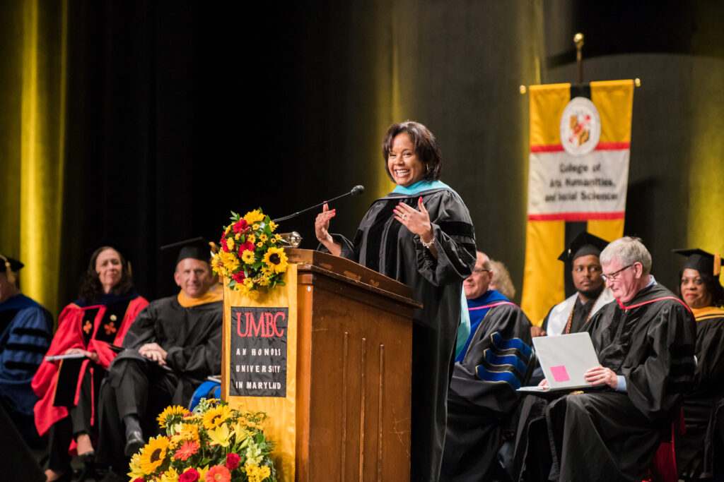 Stephanie Hill speaks during the undergraduate ceremony.