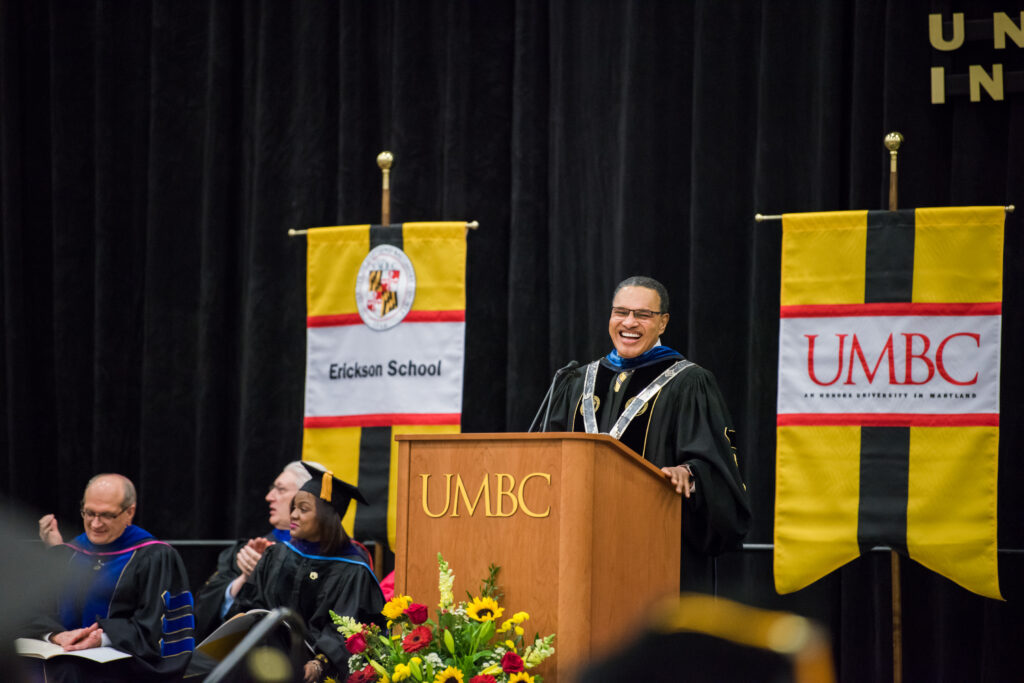 UMBC President Freeman Hrabowski addresses the audience during Winter Commencement Ceremonies 2017.