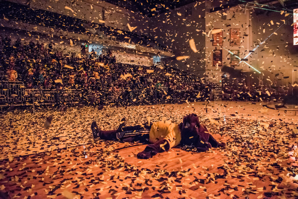 Person in retriever mascot costume and black and gold uniform celebrates by laying on a gymnasium floor, covered in confetti.