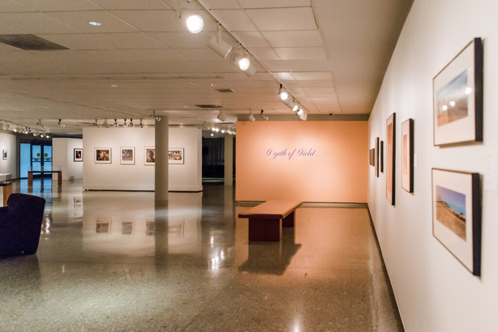 Library gallery exhibition, with lighting fixtures in the ceiling and photographs on the walls.