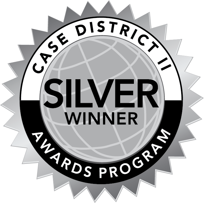 "Silver graphic of a globe with accents and text ""CASE DISTRICT II AWARDS PROGRAM SILVER WINNER"""