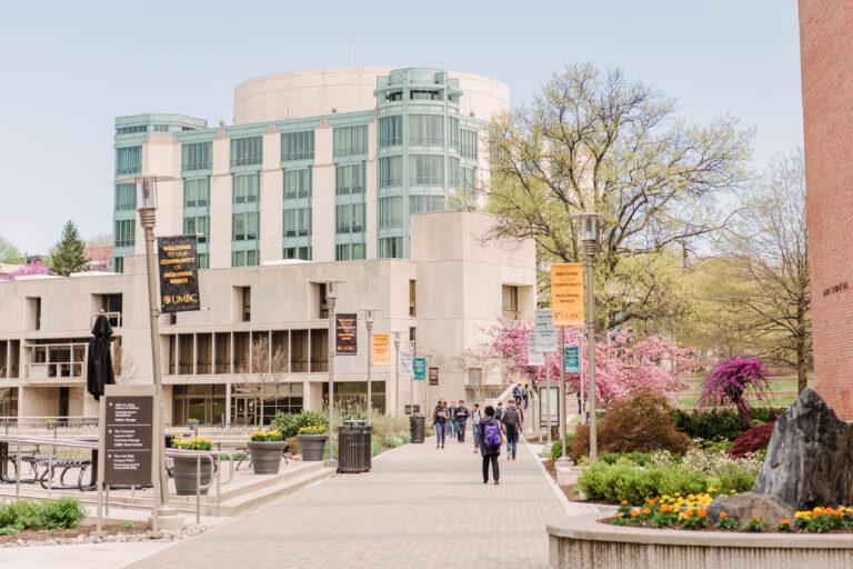 UMBC Albin O'Kuhn Library in springtime
