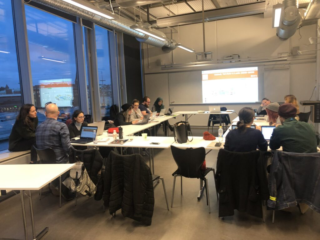 Students in Sweden working on projects.