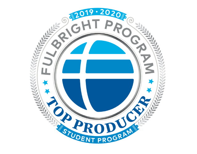 Circular blue, white, and grey logo for the Fulbright Program Top Producer.