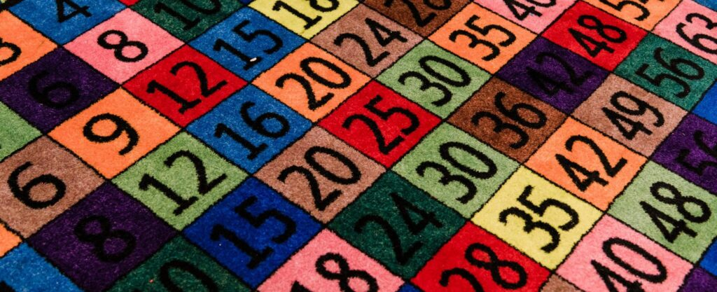 A rug with colorful multiplication grid.