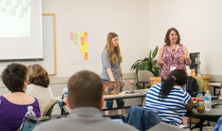 Marie desJardins teaches AP Computer Science teacher workshop, Summer 2015, at UMBC (cropped)