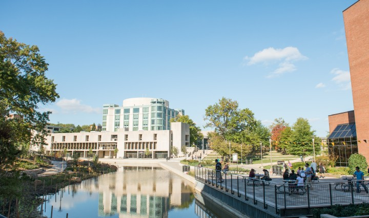 UMBC Library Pond after redesign